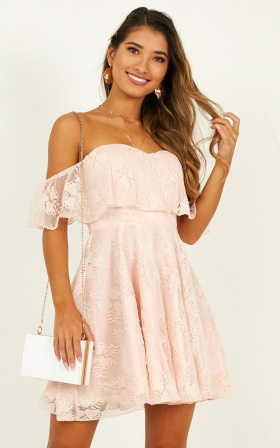 Twirl Me Around Dress In Nude Lace