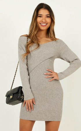 Unlocked Knit Dress In Grey