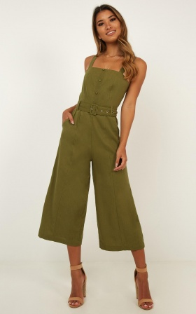 b3a7f38ca7 What If Jumpsuit In Khaki Linen Look ...