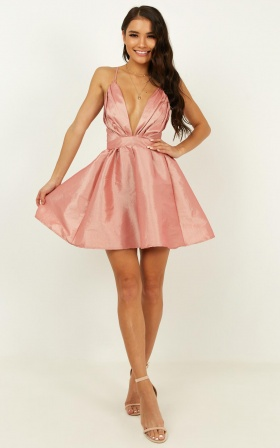What They Know Dress In Pink Sateen