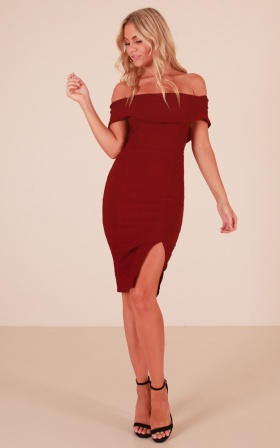Falling Hard dress in wine