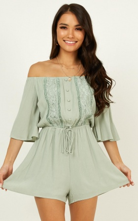 Walk Through Water Playsuit In Sage