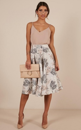 Whirlwind Midi Skirt In Grey Floral