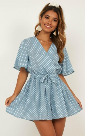Wishin On Me Playsuit In Blue Spot