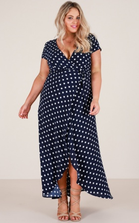Wrap and Cross maxi dress in navy spot