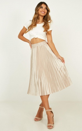 Yacht Party Skirt In Champagne Satin