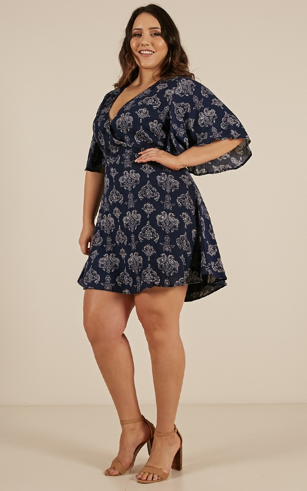 Beginners Luck Dress In Navy Paisley Print