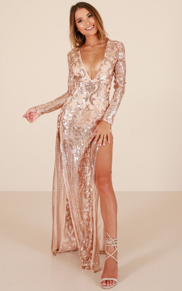 moderate price big collection Super discount The Best Option Maxi Dress In Rose Gold Sequin