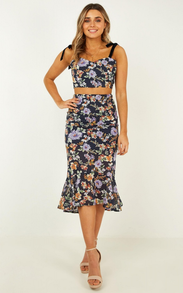 I Never Thought Two Piece Set In Navy Floral